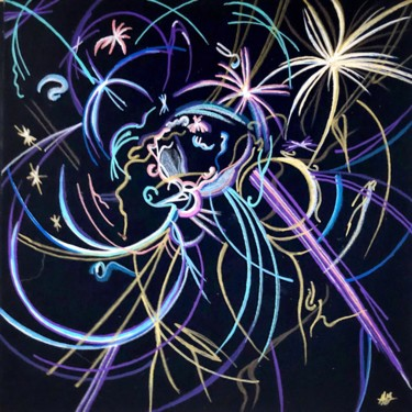 """Painting titled """"Microcosmos #61"""" by Anne Brigaud, Original Art,"""