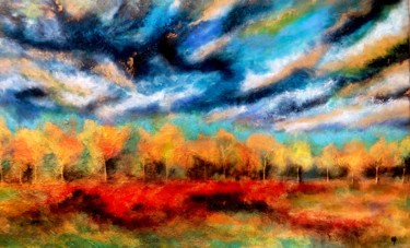 """Painting titled """"Arbres d'or et cham…"""" by Anne Brigaud, Original Art,"""