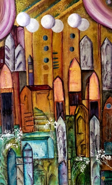 """Painting titled """"Forteresse aux six…"""" by Anne Brigaud, Original Art,"""