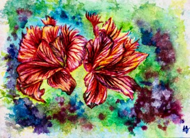 """Painting titled """"Duo rouge"""" by Anne Brigaud, Original Art, Watercolor"""