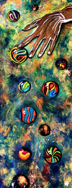 """Painting titled """"Billes #12"""" by Anne Brigaud, Original Art, Acrylic"""