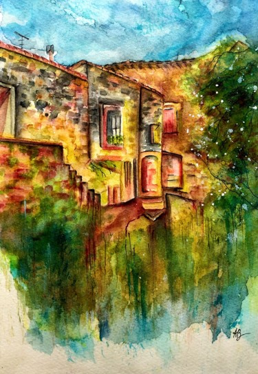 """Painting titled """"Vieilles pierres"""" by Anne Brigaud, Original Art, Watercolor"""