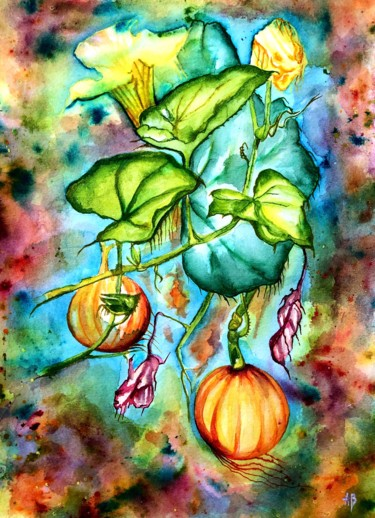 """Painting titled """"Potirons"""" by Anne Brigaud, Original Art, Watercolor"""