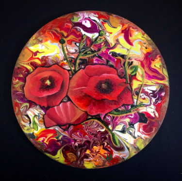 """Painting titled """"Coquelicots sur fon…"""" by Anne Brigaud, Original Art, Acrylic"""