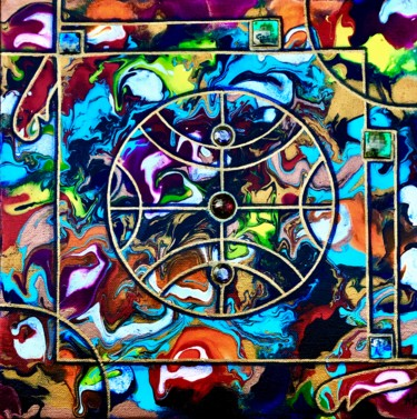 """Painting titled """"Le cercle magique"""" by Anne Brigaud, Original Art, Acrylic"""