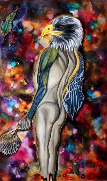 """Painting titled """"Plume"""" by Anne Brigaud, Original Art, Acrylic"""