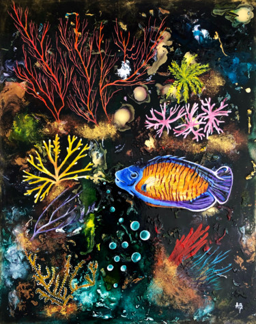 """Painting titled """"Coraux et poissons"""" by Anne Brigaud, Original Art, Acrylic"""