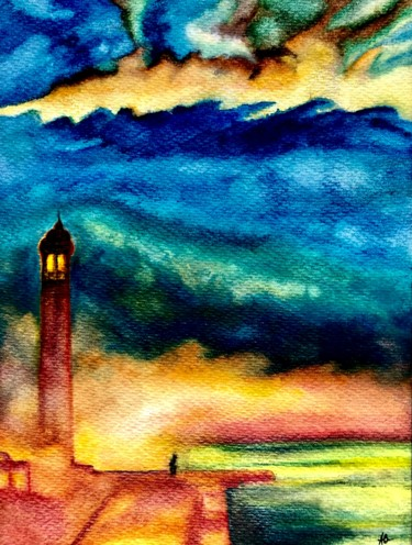"""Painting titled """"Le phare"""" by Anne Brigaud, Original Art, Watercolor"""