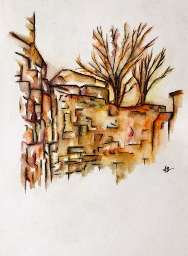 """Painting titled """"Vieux murs"""" by Anne Brigaud, Original Art, Watercolor"""