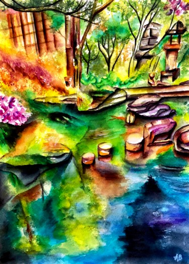 """Painting titled """"Jardin exotique #2"""" by Anne Brigaud, Original Art, Watercolor"""