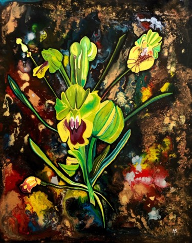 """Painting titled """"Fleurs exotiques ja…"""" by Anne Brigaud, Original Art, Acrylic"""