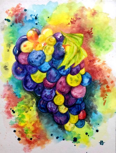 """Painting titled """"Grappe"""" by Anne Brigaud, Original Art, Watercolor"""