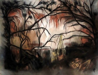 Painting, charcoal, artwork by Anne Brigaud
