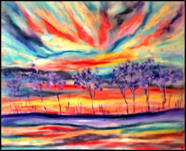 """Painting titled """"Couchant aux arbres…"""" by Anne Brigaud, Original Art,"""