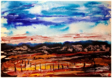 """Painting titled """"Vignes automnales"""" by Anne Brigaud, Original Art,"""