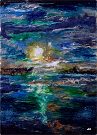 """Painting titled """"Couchant aux reflet…"""" by Anne Brigaud, Original Art,"""