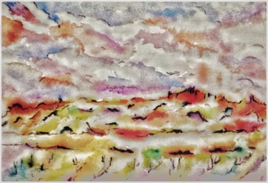 """Painting titled """"Au loin"""" by Anne Brigaud, Original Art, Watercolor"""