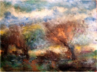 """Painting titled """"Couleurs d'automne"""" by Anne Brigaud, Original Art, Ink"""