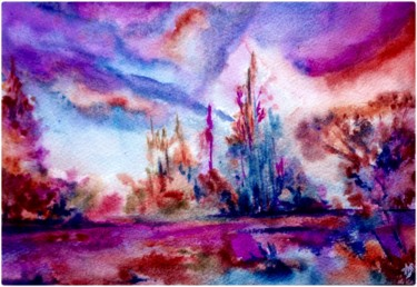 """Painting titled """"Les arbres mauves"""" by Anne Brigaud, Original Art,"""