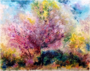"""Painting titled """"Duo rose"""" by Anne Brigaud, Original Art,"""