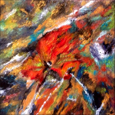 """Painting titled """"Éclatement rouge"""" by Anne Brigaud, Original Art,"""