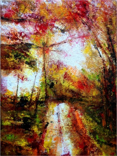 """Painting titled """"Sous-bois"""" by Anne Brigaud, Original Art,"""