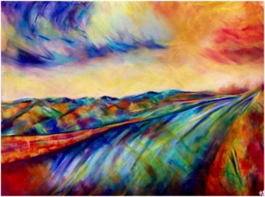 """Painting titled """"Route des puits"""" by Anne Brigaud, Original Art,"""