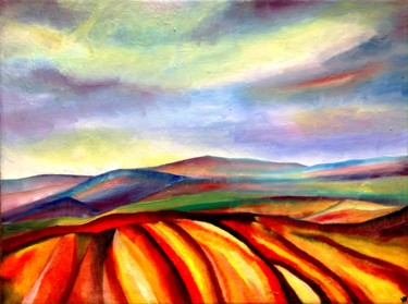 """Painting titled """"Auvergne multicolore"""" by Anne Brigaud, Original Art,"""