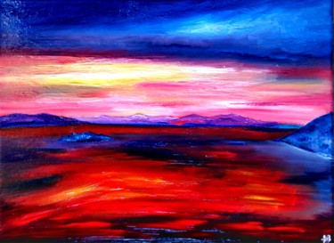 """Painting titled """"Les Cyclades rouges"""" by Anne Brigaud, Original Art,"""