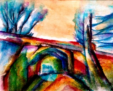 """Painting titled """"Le pont multicolore"""" by Anne Brigaud, Original Art,"""