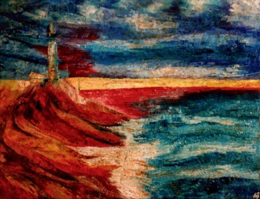 """Painting titled """"Phare aux rochers r…"""" by Anne Brigaud, Original Art,"""
