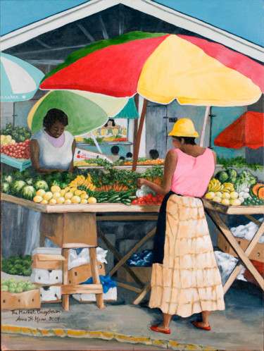 """Painting titled """"The Market - Bridge…"""" by Anne Heather Moore, Original Art, Oil"""