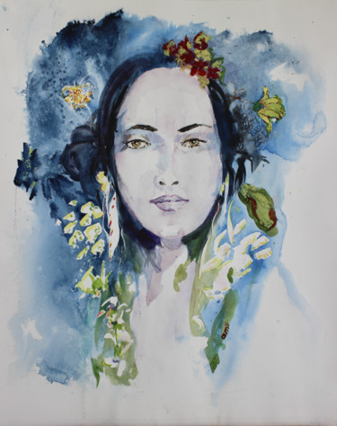 """Painting titled """"Muse"""" by Anne-Marie Simard-Grasset, Original Art, Watercolor"""