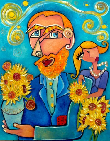 Celebrity Painting, oil, naive art, artwork by Anne Marie Torrisi