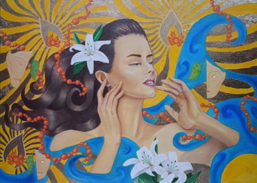 """Painting titled """"Woman with lilies o…"""" by Anna Ponomarenko, Original Art, Oil Mounted on Stretcher frame"""