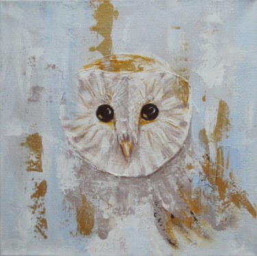 """Painting titled """"Barn owl painting"""" by Anna Ponomarenko, Original Art, Acrylic Mounted on Stretcher frame"""