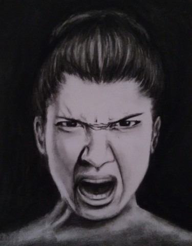 """Drawing titled """"Rage"""" by Antalgique, Original Art, Charcoal"""