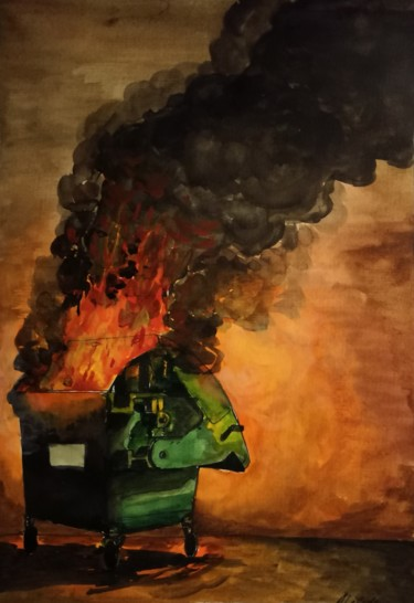 """Painting titled """"Freedom for garbage"""" by Anthony Lebedev, Original Art, Watercolor"""