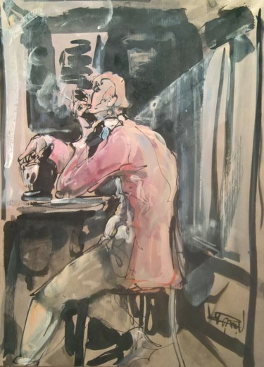 Everyday Life Drawing, gouache, figurative, artwork by Antoine Faure