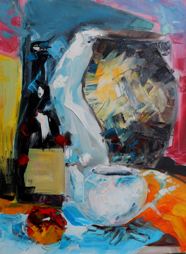 """Painting titled """"still life"""" by Anzor Valetov, Original Art, Oil Mounted on Stretcher frame"""