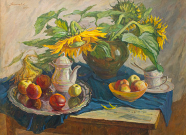 """Painting titled """"Sunflowers"""" by Andrey Pingachev, Original Art, Oil"""