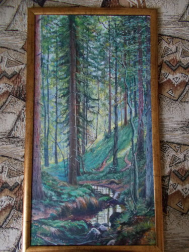 """Painting titled """"Forest's brook"""" by Artyom Ukhov, Original Art, Acrylic"""