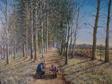"""Painting titled """"Players"""" by Artyom Ukhov, Original Art, Oil"""