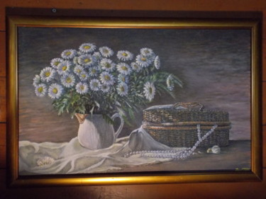 """Painting titled """"Daizies and a basket"""" by Artyom Ukhov, Original Art, Oil"""