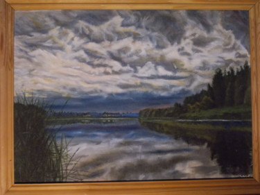 """Painting titled """"River with the rain…"""" by Artyom Ukhov, Original Art, Oil"""