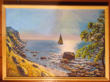 """Painting titled """"The Beach"""" by Artyom Ukhov, Original Art, Acrylic"""