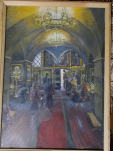"""Painting titled """"At the liturgy"""" by Artyom Ukhov, Original Art, Oil"""