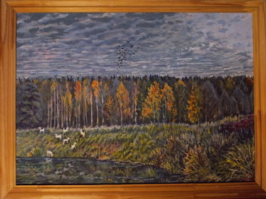 """Painting titled """"Goats at the pasture"""" by Artyom Ukhov, Original Art, Acrylic"""