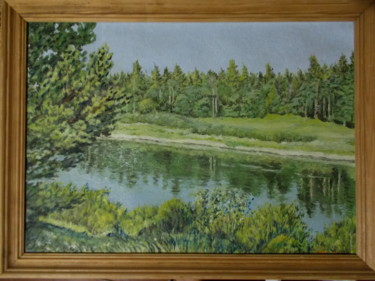 """Painting titled """"Sunny day at the ri…"""" by Artyom Ukhov, Original Art, Oil"""