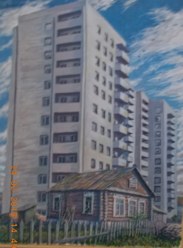"""Painting titled """"Wooden Vologda is p…"""" by Artyom Ukhov, Original Art, Tempera"""